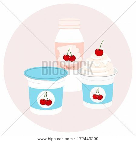 Yogurt healthy cream milk product in plastic container and bottle. Milky nutrition diet with cherry, organic food with berries.