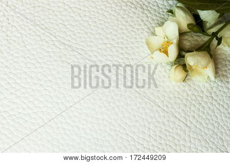 Texture of white genuine leather close-up, decorated with jasmine flower. For background , backdrop, substrate, composition use. With place for your text