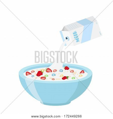 Cereal rings with strawberry, milk in oatmeal breakfast. Organic muesli. Flat vector style.