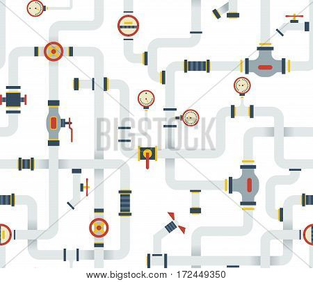 Seamless Stock vector ware pipes system pattern. Flat vector background.