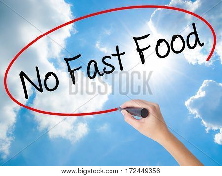Woman Hand Writing No Fast Food With Black Marker On Visual Screen.