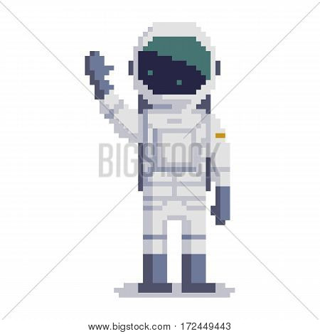 Cosmonaut isolated on white background. Astronaut pixel game style illustration. Spaceman vector pixel art design. funny 8 bit people character icon.