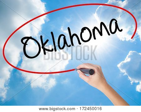 Woman Hand Writing Oklahoma With Black Marker On Visual Screen