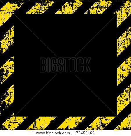vector grungy background texture of old wall square with black and yellow lines warning of danger