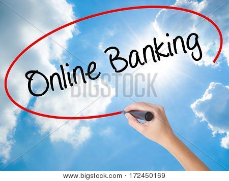 Woman Hand Writing Online Banking With Black Marker On Visual Screen