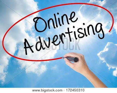 Woman Hand Writing Online Advertising With Black Marker On Visual Screen