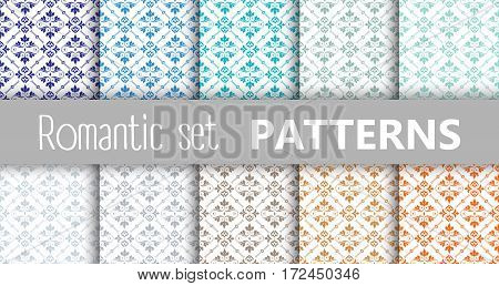 Pastel retro vector patterns tiling. Endless texture can be used for printing onto fabric and paper or scrap booking surface textile web page background. Flower abstract shapes