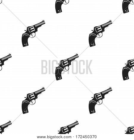 Revolver icon in black style isolated on white background. Wlid west pattern vector illustration.