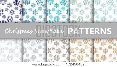 Christmas pastel snowflake retro vector patterns tiling. Endless texture can be used for printing onto fabric and paper or scrap booking surface textile web page background. New Year abstract shapes.