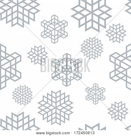 Christmas seamless snowflake retro vector patterns tiling. Endless texture can be used for printing onto fabric and paper or scrap booking surface textile web page background. New Year abstract shapes.