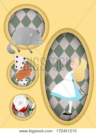 Book illustration. Alice in Wonderland. Cheshire cat, white rose cards