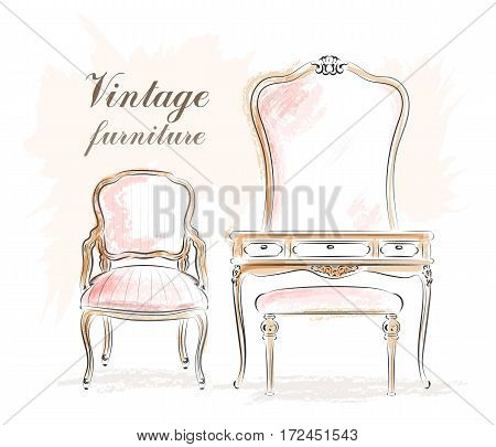 Stylish vintage furniture: dressing table with mirror and chairs. Sketch. Vector illustration.