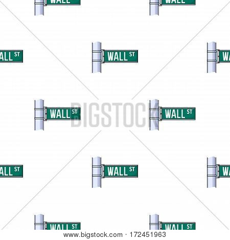 Wall Street sign icon in cartoon style isolated on white background. Money and finance pattern vector illustration.