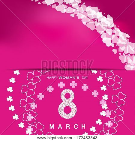 Vector Happy Woman's Day envelope on the pink gradient background with white floral pattern text and clover leaves arranged in a circle.