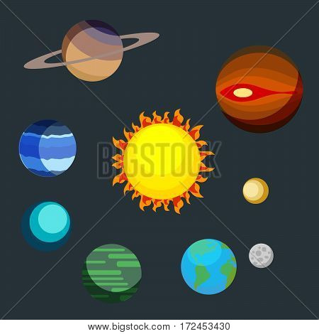 Set the planets of the solar system. Earth, Mars, Pluto, Neptune, Saturn, Uranus around the large star. Vector, illustration in flat style isolated on dark background EPS10
