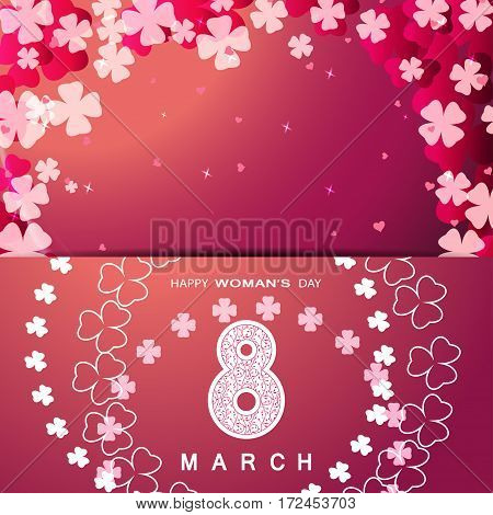 Vector Happy Woman's Day envelope on the red gradient background with floral pattern text and clover leaves arranged in a circle and at corners.