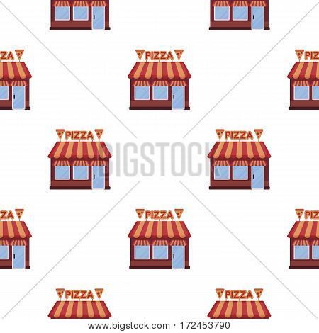 Pizzeria icon in cartoon style isolated on white background. Pizza and pizzeria pattern vector illustration.