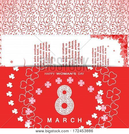 Vector Happy Woman's Day envelope on the red background with floral pattern insert text and clover leaves arranged in a circle and at corners.