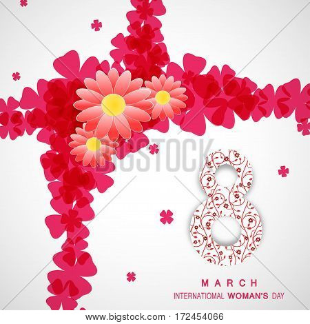 Vector International Woman's Day poster on the gradient gray background with text and red clover leaves and number eight with floral pattern.