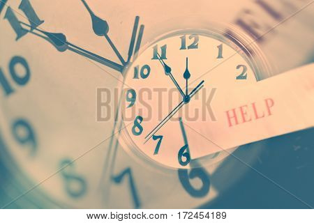 wall clock face and word help concept of time control
