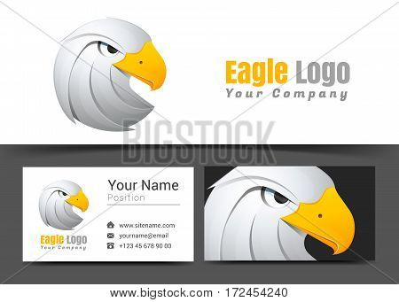 Eagle White Corporate Logo and Business Card Sign Template. Creative Design with Colorful Logotype Visual Identity Composition Made of Multicolored Element. Vector Illustration.