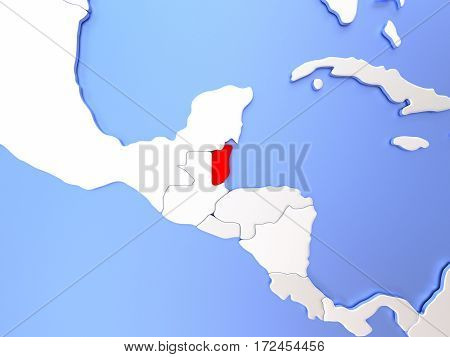 Belize In Red On Map
