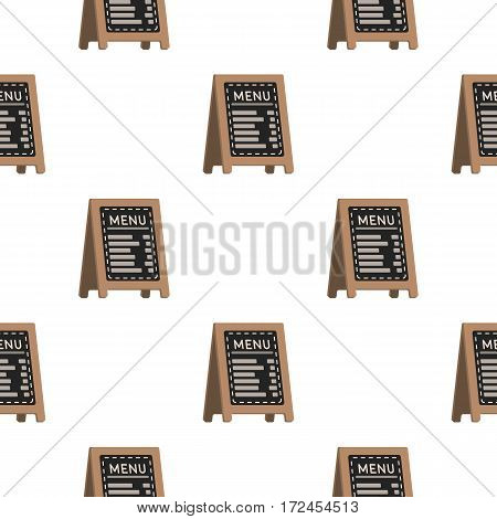 Menu of pizzeria icon in cartoon style isolated on white background. Pizza and pizzeria pattern vector illustration.