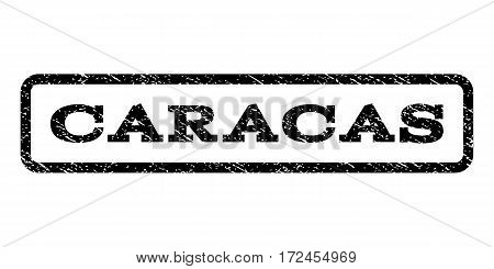 Caracas watermark stamp. Text tag inside rounded rectangle frame with grunge design style. Rubber seal stamp with dirty texture. Vector black ink imprint on a white background.