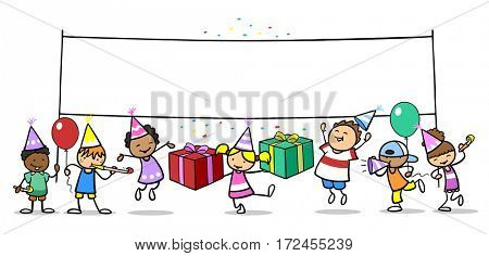 Group of cartoon children celebrating birthday with big blank banner