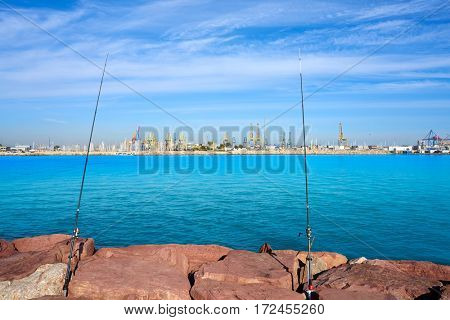 Valencia port and marina view from Pinedo at spain