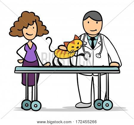 Cartoon woman with cat at vet doctor for animal treatment