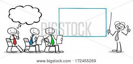 Cartoon business people in training seminar with management coach