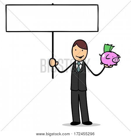 Cartoon bank clerk manager with piggy bank holding a blank sign