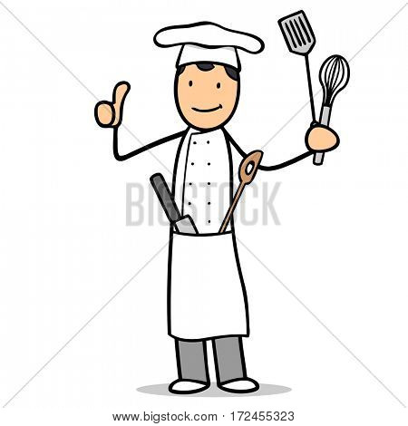 Smiling cartoon chef cook with kitchen tools holding thumbs up