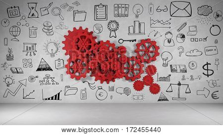 Drawn business icons around cogwheel gears on a wall as creativity concept