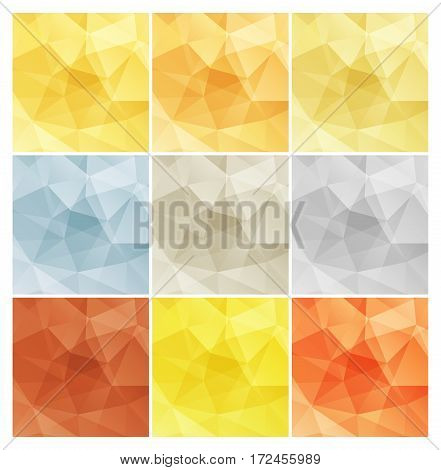 Vector shiny polygonal rectangular blank backgrounds in gold white gold red gold silver bronze platinum copper aluminum brass