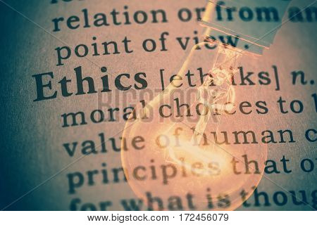 Fake dictionary definition of the word Ethics.
