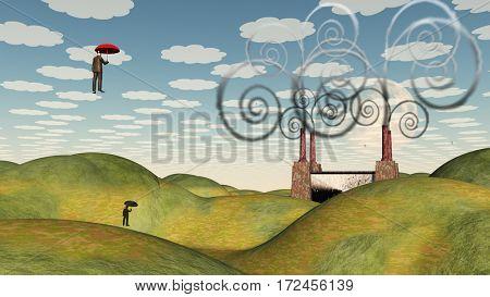 Fantastic landscape with man floating in sky under umbrella  3D Rendered