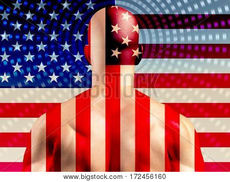 Muscular Man with USA Flag  3D Rendered