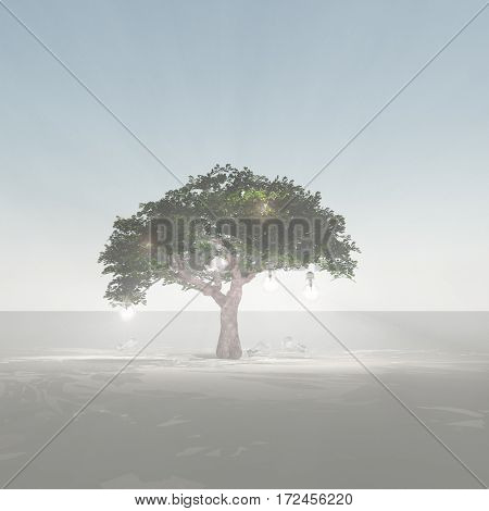 Green tree with light bulbs.  3D Render