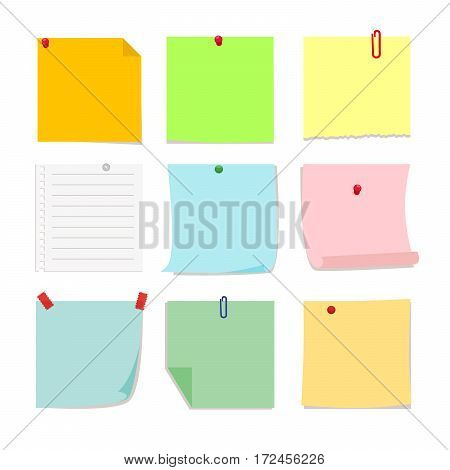 Set of detachable stickers paper notes. Vector, illustration in flat style isolated on white background EPS10