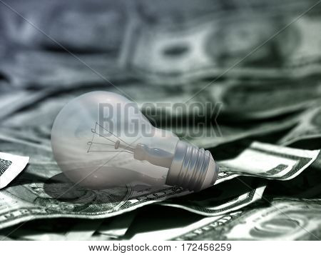 Light Bulb and US dollars.  3D Render
