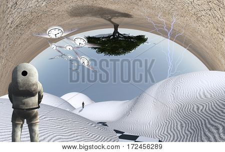 Astronaut stands in surreal white desert. Green tree upside down. Figure of man in a distance. Winged clocks represents flow of time.  3D Render