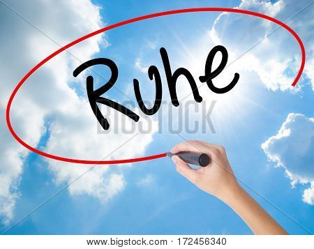 Woman Hand Writing Ruhe (quiet In German) With Black Marker On Visual Screen