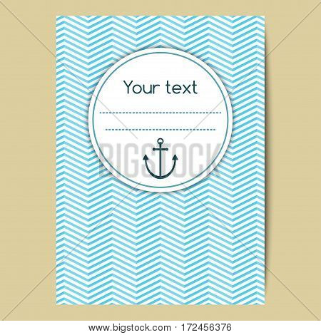 Laconic background in nautical style with anchor and space for text. Vector template for a cover banner or greeting card.