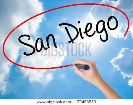 Woman Hand Writing San Diego With Black Marker On Visual Screen