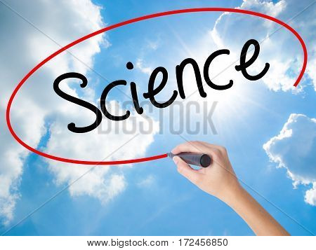 Woman Hand Writing Science With Black Marker On Visual Screen