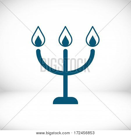 candles on a candlestick icon, vector illustration. Flat design style