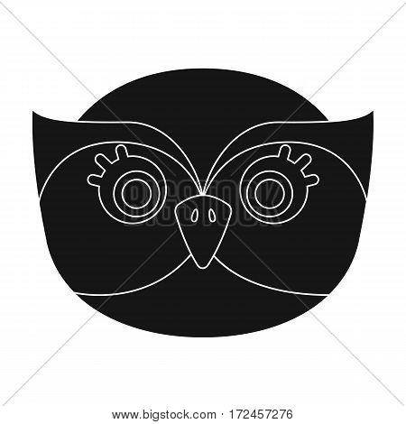 Owl muzzle icon in black design isolated on white background. Animal muzzle symbol stock vector illustration.