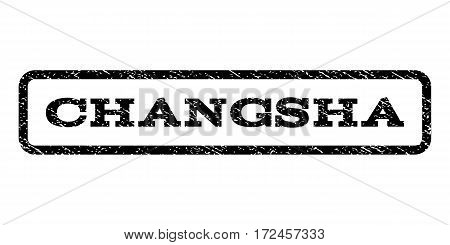 Changsha watermark stamp. Text caption inside rounded rectangle frame with grunge design style. Rubber seal stamp with scratched texture. Vector black ink imprint on a white background.